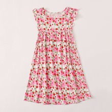 Toddler Girls Allover Floral Print Ruffle Cuff A-line Dress