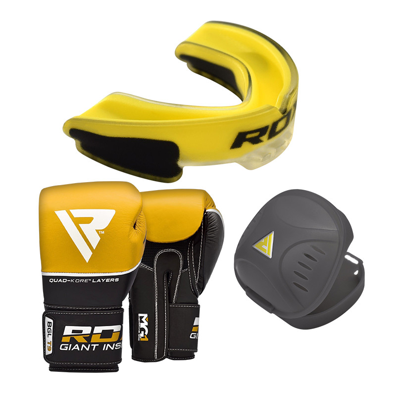 RDX T9 Boxing Gloves and Mouth Guard Set in Yellow / Black