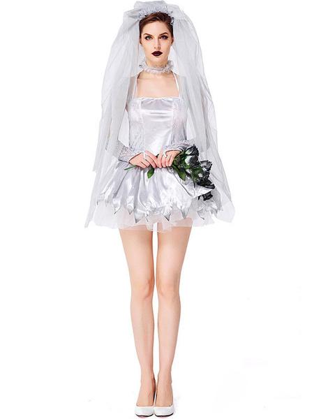 Milanoo Halloween Costumes Women\'s Corpse Bride Gloves Silver Dress Matte Satin Metallic Halloween Holidays Costumes