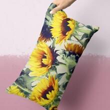 Sunflower Print Lumbar Pillowcase