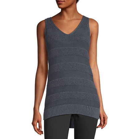 a.n.a Womens V Neck Sleeveless Pullover Sweater, X-small , Blue