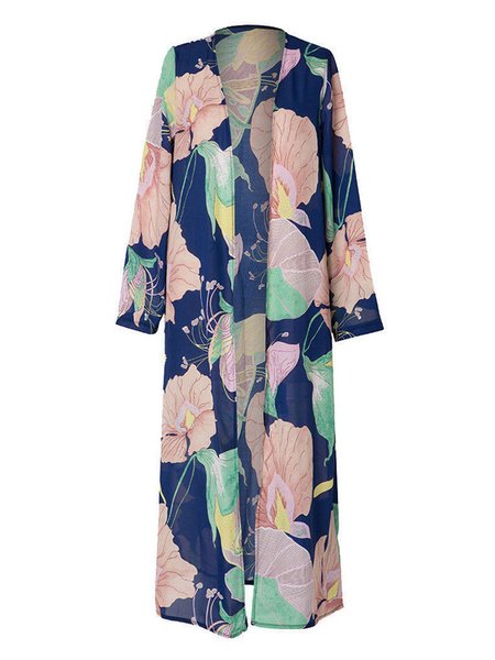 Milanoo Women Cover Ups Black Printed Long Sleeves Polyester Summer Bathing Suits