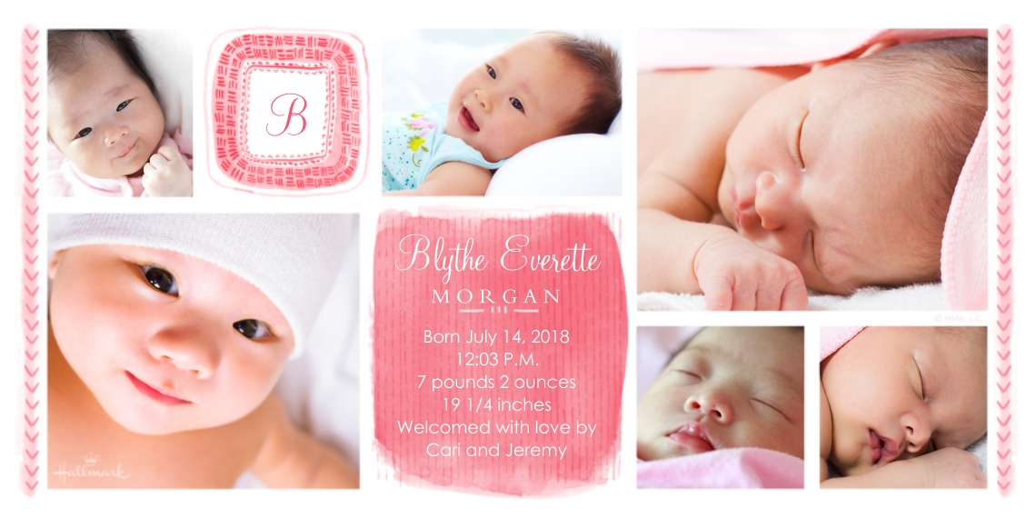 Newborn Flat Matte Photo Paper Cards with Envelopes, 4x8, Card & Stationery -Mark Making Monogram - Pink