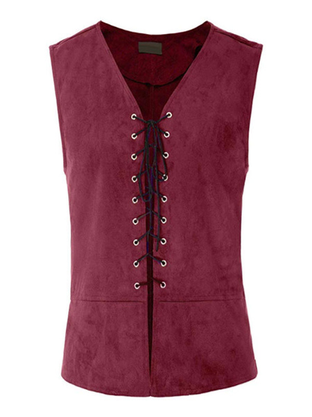 Milanoo Amber Vintage Gilets Middle Ages Plus Size Lace Up Retro Costumes For Man