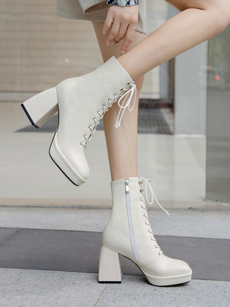 Milanoo Women Ankle Boots Ecru White Cowhide Square Toe Chunky Heel Front Lace Ankle Boots