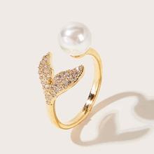 1pc Rhinestone Decor Fishtail & Faux Pearl Decor Ring