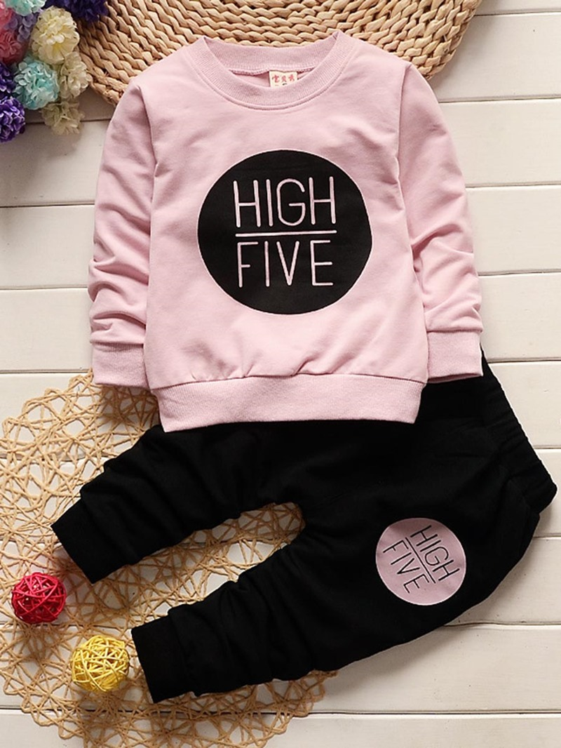 Ericdress Letter Print Long Sleeve 2-Pcs Girls Outfit