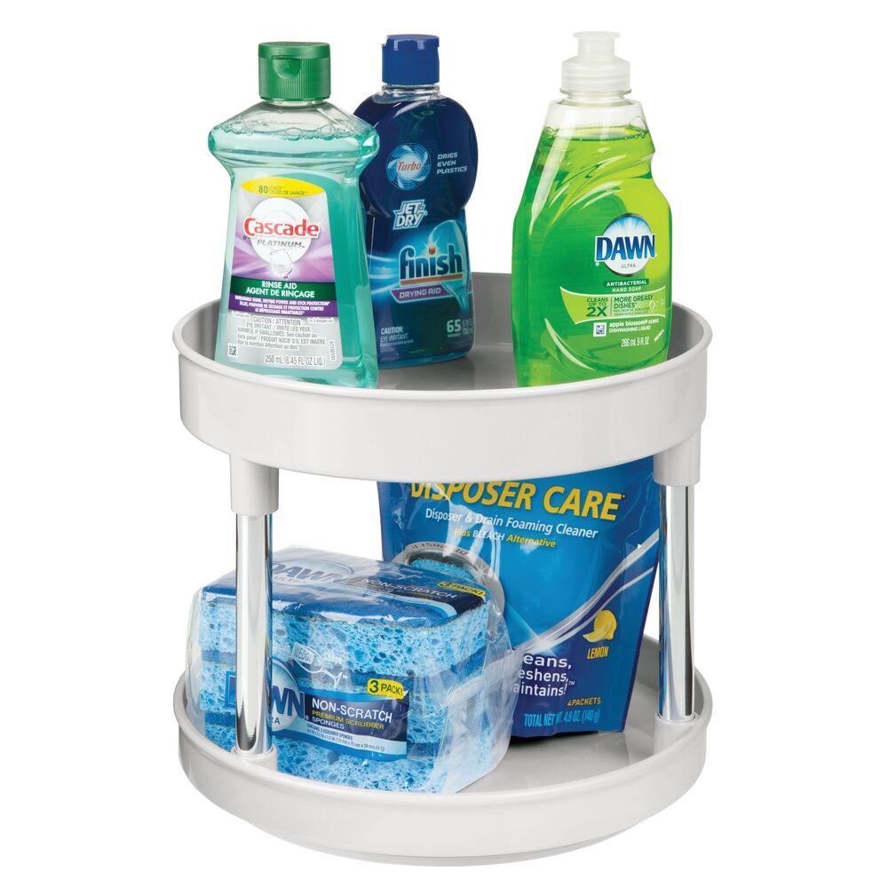 mDesign 2 Tier Plastic Kitchen Lazy Susan Turntable Storage - 9