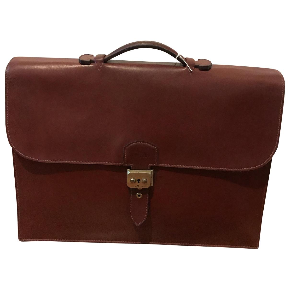 Hermès Sac à dépèches Burgundy Leather bag for Men \N
