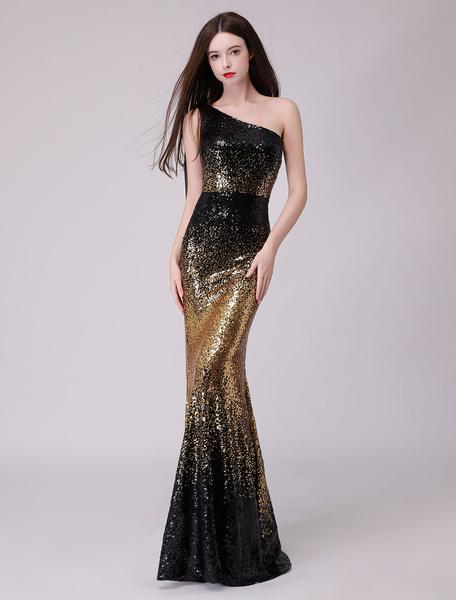 Milanoo Sequin Evening Dresses One Shoulder Mermaid Prom Gowns