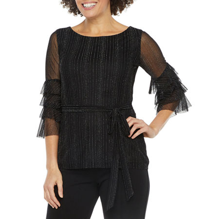 J Taylor Womens 3/4 Tiered Sleeve Blouse, Large , Black