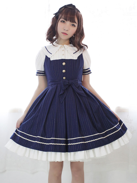 Milanoo Classic Lolita Dress Neverland Morning Star Idol Academy JSK Dark Navy Stripe Lolita Jumper Skirt Original Design