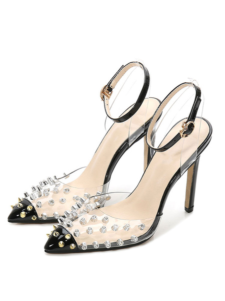 Milanoo Black High Heels Women Pointed Toe Rivets Ankle Strap Pumps Plus Size Clear Shoes