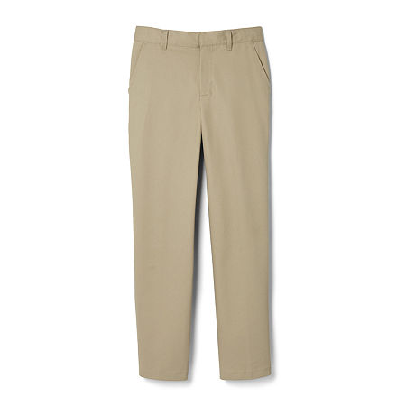 French Toast Big Boys Straight Flat Front Pant, 14 , Brown