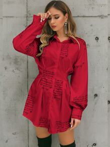 Glamaker Neon Red Letter Graphic Dress
