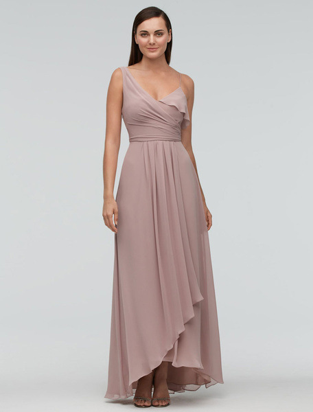 Milanoo Blush Bridesmaid Dress Chiffon Maxi Wedding Party Dress One-shoulder Asymmetrical A-line Evening Dress