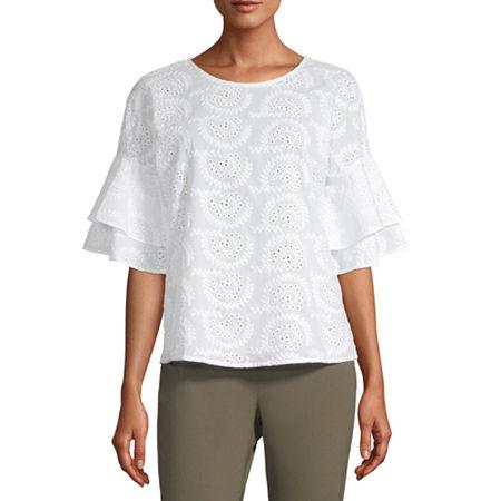 Liz Claiborne Womens Round Neck Short Sleeve Blouse, X-large , White