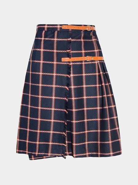 Yoins Buckle Plaid Midi Pleated Skirt