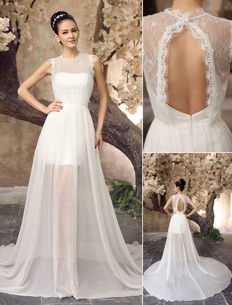 Milanoo Ivory A-line Jewel Neck Semi-Sheer Lace Destination Wedding Dress