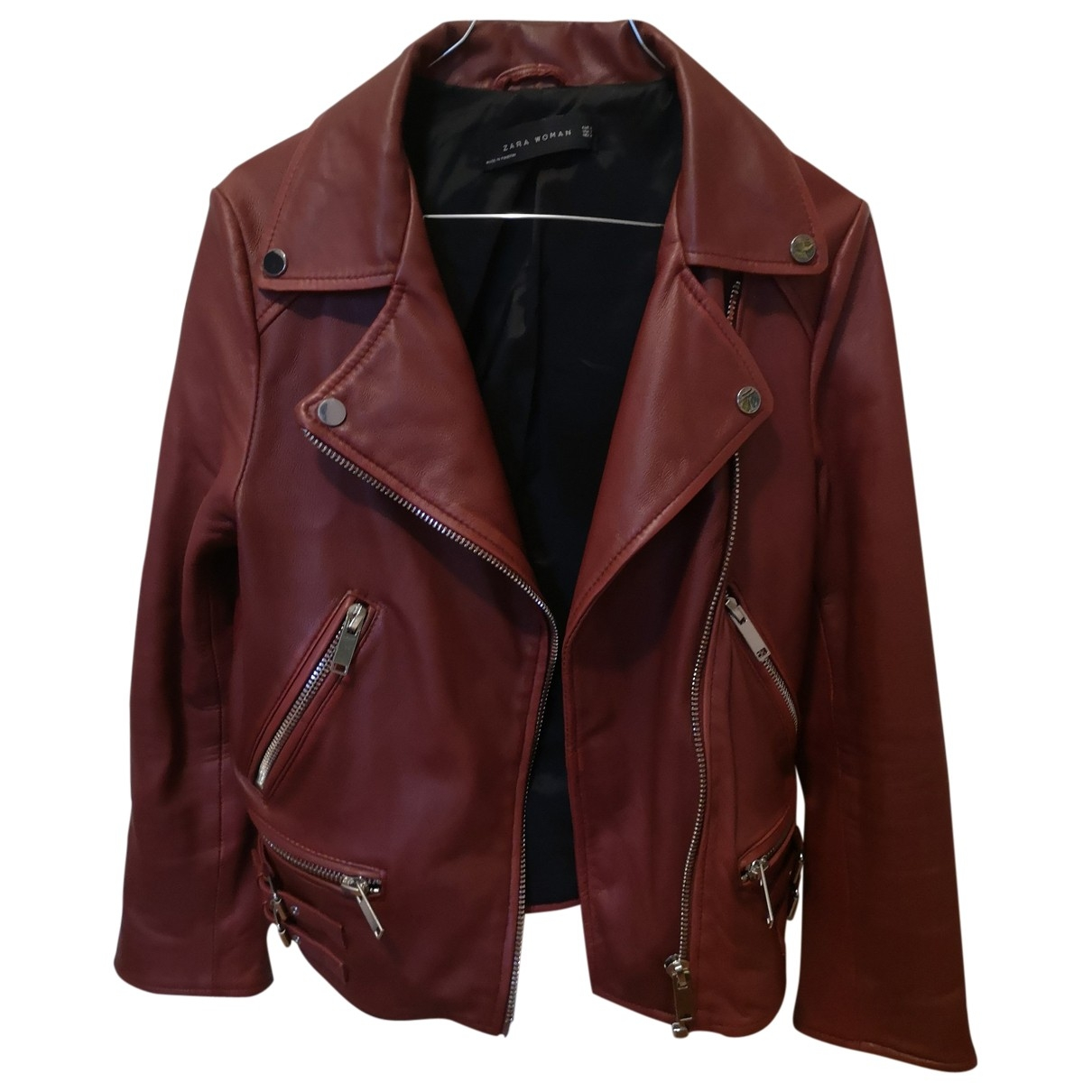 Zara \N Red Leather Leather jacket for Women XS International