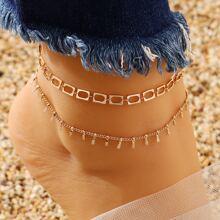2pcs Metal Chain Anklet