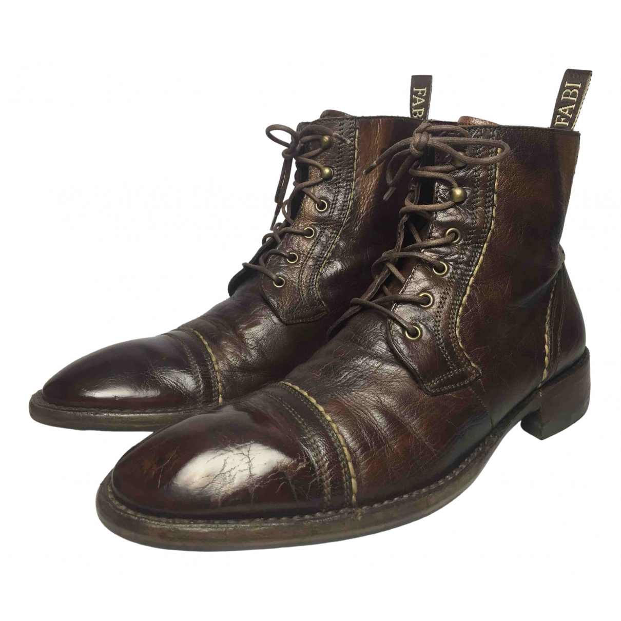 Non Signé / Unsigned \N Brown Leather Boots for Men 42 EU