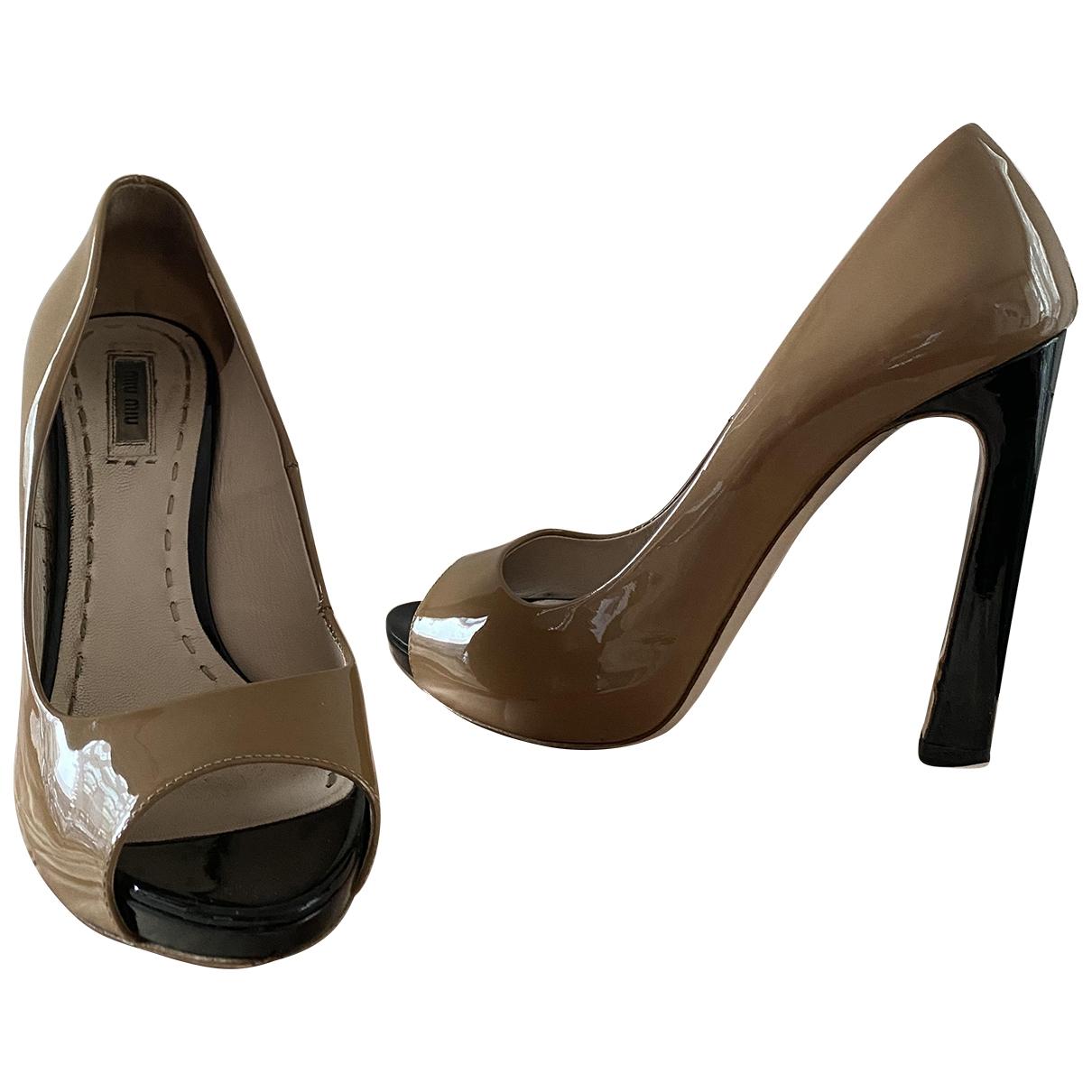 Miu Miu \N Beige Leather Heels for Women 41 EU