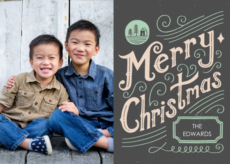 Christmas Photo Cards Flat Matte Photo Paper Cards with Envelopes, 5x7, Card & Stationery -Seasonal Scribbles