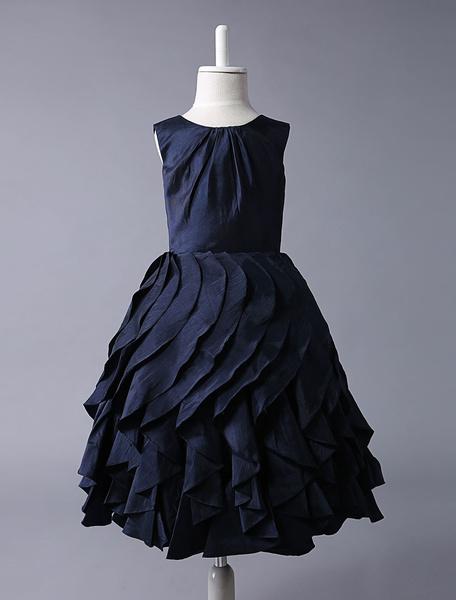 Milanoo Navy Blue Taffeta Flower Girl Dress With Ruffle Skirt