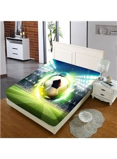 Luminous Soccer on The Soccer Field Reactive Printing 1-Piece Polyester Bed Cover / Mattress Cover