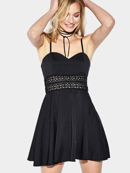 Yoins Hollow Out Cami Mini Dress in Black