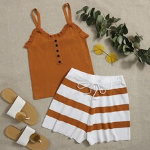 Frill Trim Cami Top & Drawstring Waist Striped Shorts Set