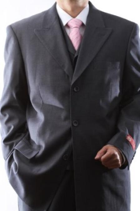 Mens Superiors Extra Fine Gray 3 pcs Vested Suits with Peak Lapel