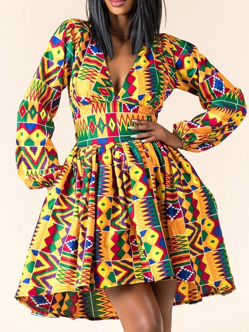Ericdress V-Neck Above Knee Print Vintage Pullover Dress