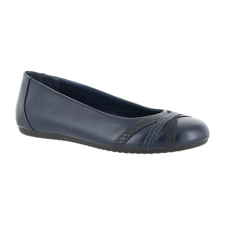Easy Street Womens Derry Ballet Flats, 9 Wide, Blue