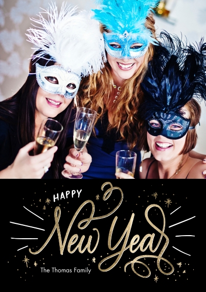 New Year's Photo Cards 5x7 Cards, Premium Cardstock 120lb with Rounded Corners, Card & Stationery -Happy New Year Script by Tumbalina