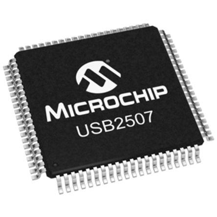 Microchip USB2507-ADT, USB Controller, 3-Channel, 480Mbps, USB 2.0, 80-Pin TQFP