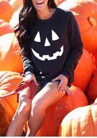 Halloween Pumpkin Long Sleeve Sweatshirt - Black