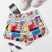 Tie Front Pop Art Print Shorts