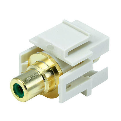 Modular RCA w/Green Center Keystone Jack, Flush Type - Ivory - Monoprice®