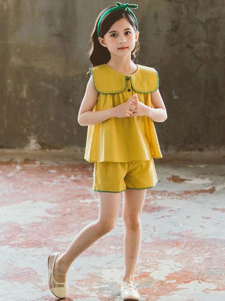 Milanoo Age 4-13 Girls Dress Set Sleeveless Polyester Summer T-Shirt And Short Pants Set