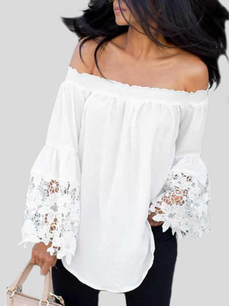 Yoins White Lace Insert Off Shoulder Flared Sleeves Blouse