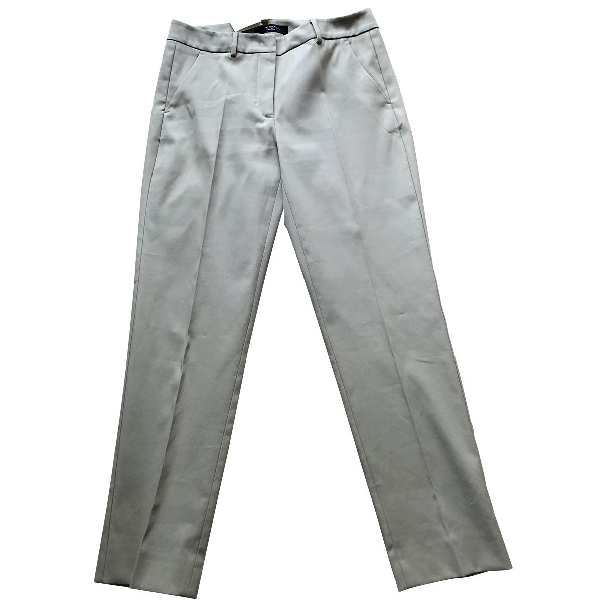 Max Mara Weekend \N Beige Cotton Trousers for Women 42 IT