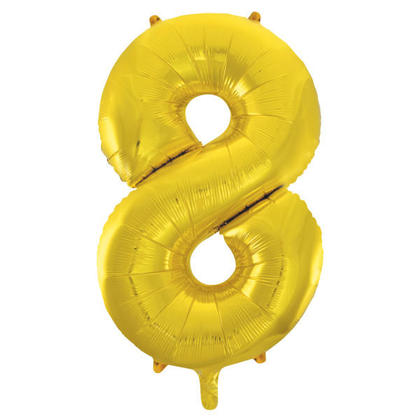 Number 8 Foil Balloon Gold 34