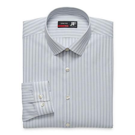 JF J.Ferrar Easy- Care Stretch Mens Long Sleeve Dress Shirt, 18-18.5 34-35, Gray