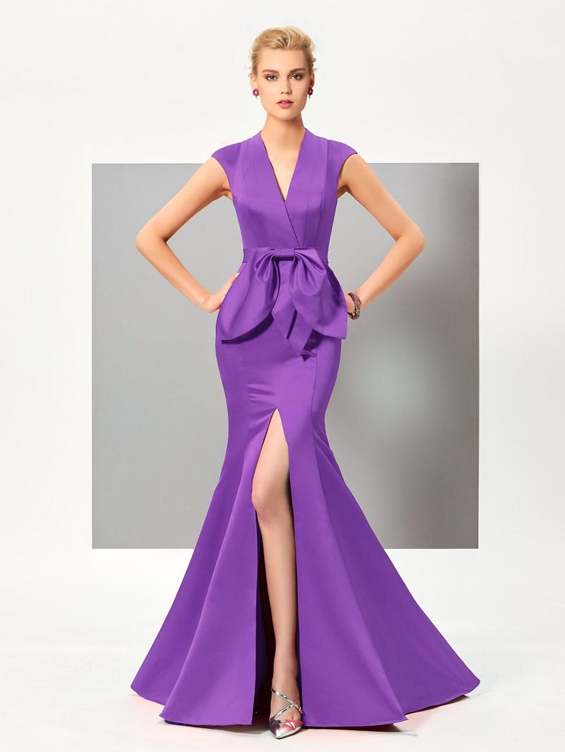 Ericdress Sexy Cap Sleeve Slit Front Mermaid Evening Dress