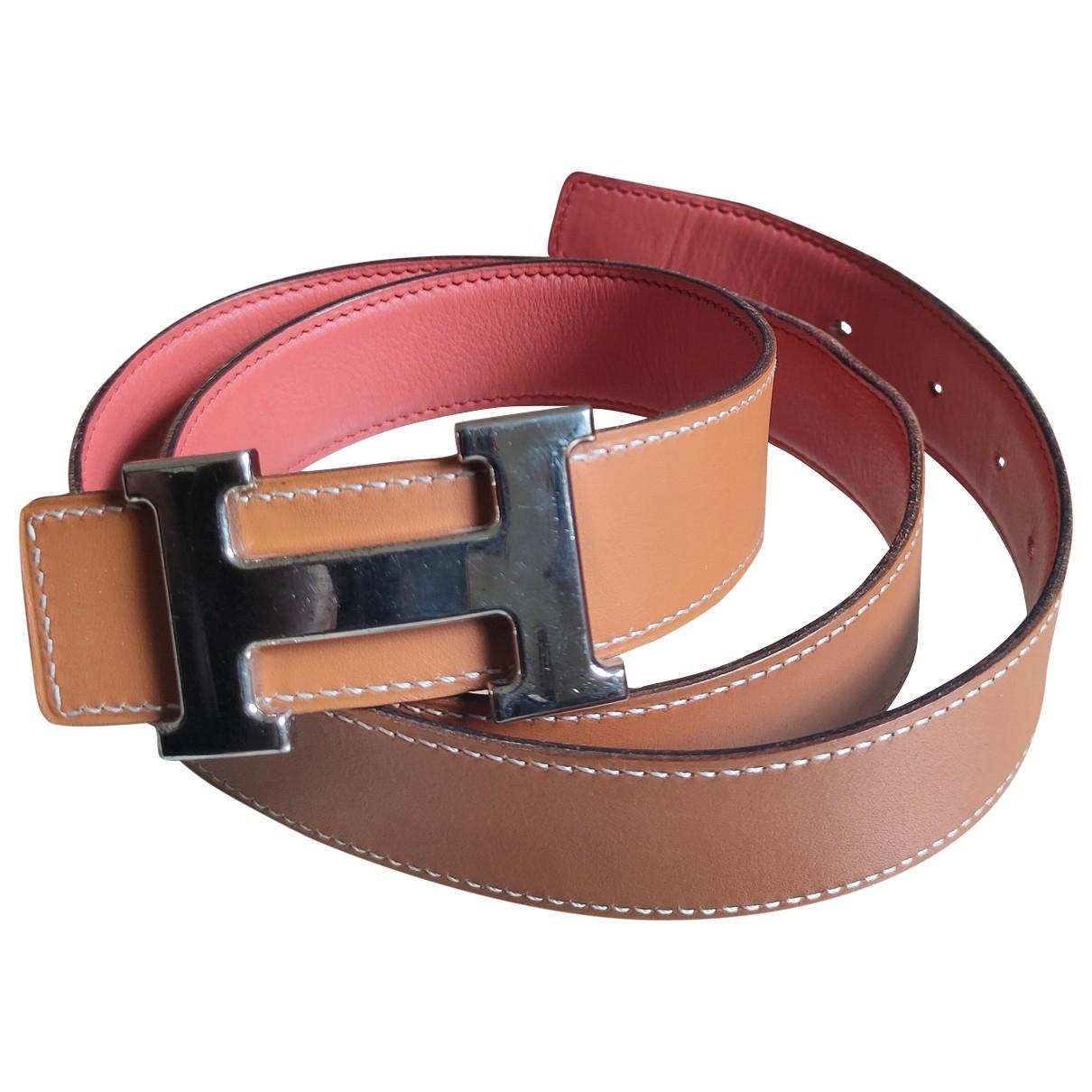 Hermès H Camel Leather belt for Men 90 cm
