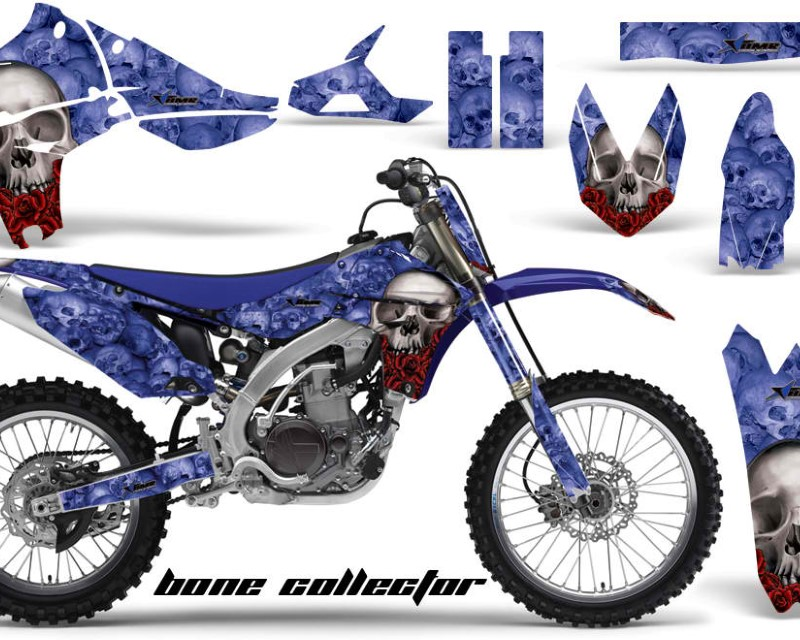 AMR Racing Graphics MX-NP-YAM-YZ450F-10-13-BC U Kit Decal Sticker Wrap + # Plates For Yamaha YZ450F 2010-2013áBONES BLUE