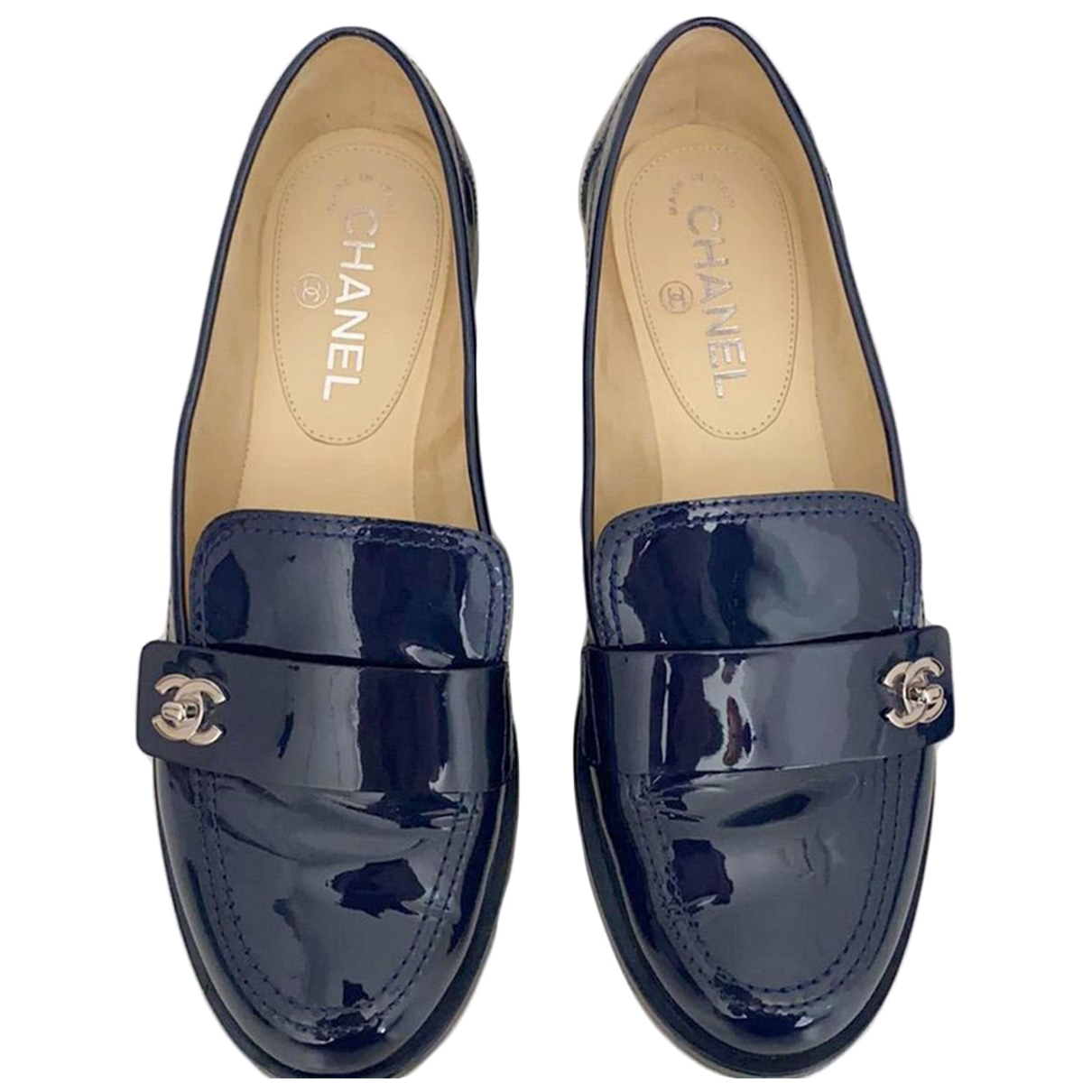 Chanel \N Navy Patent leather Flats for Women 38.5 EU