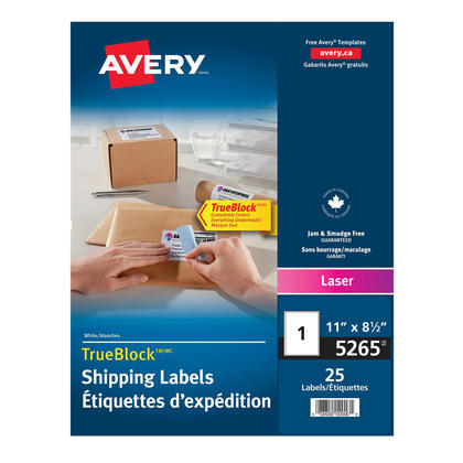 Avery@ Shipping Permanent Adhesive Laser Labels - Package of 25 sheets,8-1/2 x 11